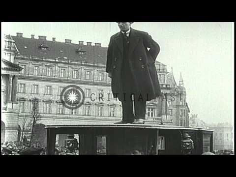Communist Bela Kun and Socialist Sandor Garbai outside the Hungarian Parliament B...HD Stock Footage
