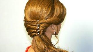 Прическа для длинных волос с помощью резинок. Вечерняя, на выпускной