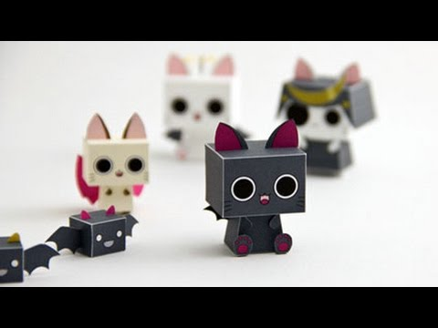 ✔️DIY - Nyanpire Cube Cat Paper Toy - Anime Kawaii Cat -Pepakura *free pdf **step by step