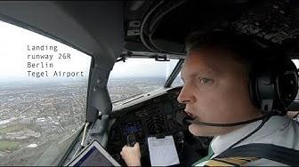 Approach and landing Berlin Tegel Airport runway 26R (EDDT TXL).