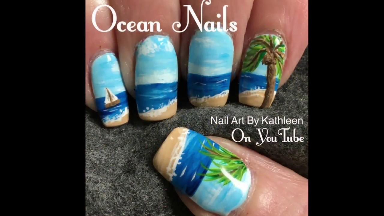 Ocean Nails Freehand Summer Nail Art Tutorial Youtube