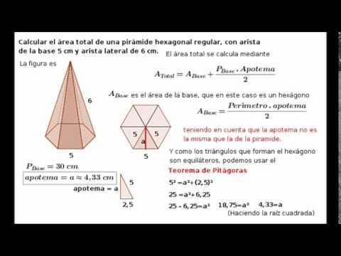 Área de una pirámide hexagonal conociendo las aristas ...