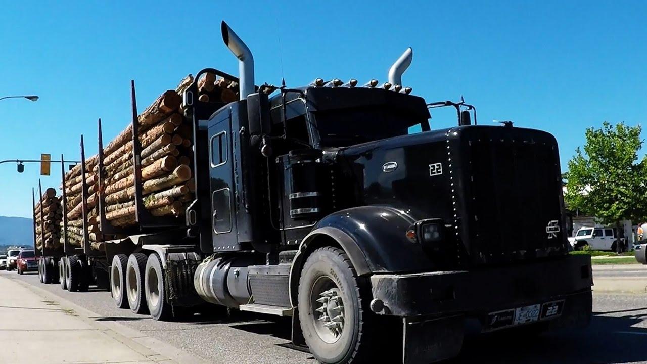 small resolution of b c logging trucks 18 jf logging kenworth t800 peterbilt 367h cummins power youtube