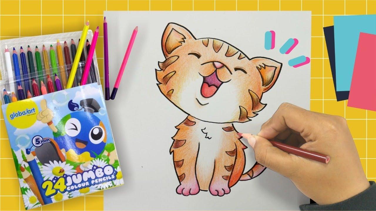 Tips Mewarnai Kucing Dengan Pensil Warna Part 2 How To Draw Youtube