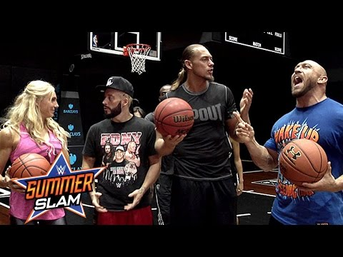 Ryback, Charlotte and Enzo Amore compete in a unique game of H.O.R.S.E. at the Barclays Center