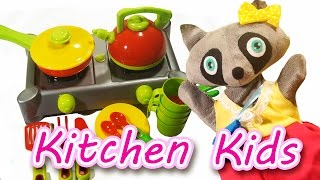Kitchen and Kitchenware for Kids with Raccoon Mary | GiGaGa TV