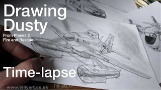 Drawing Dusty Crophopper from Planes 2 Fire and Rescue Time lapse