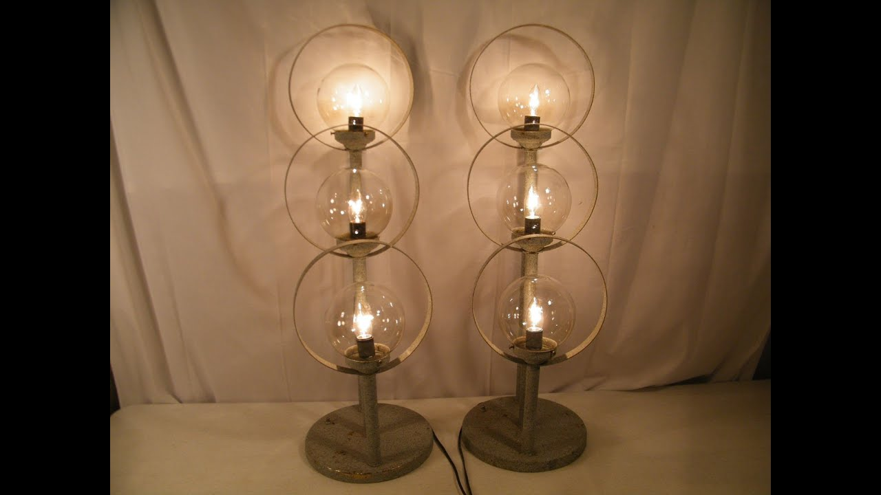 Vintage mid century modern 3 tier circle glass ball architecture vintage mid century modern 3 tier circle glass ball architecture table lamps youtube geotapseo Choice Image