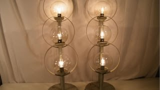 Vintage Mid Century Modern 3 Tier Circle Glass Ball Architecture Table Lamps