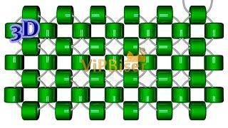 Монастырское плетение (крестиком) бисером двумя иглами/Right-angle weave. 3D урок