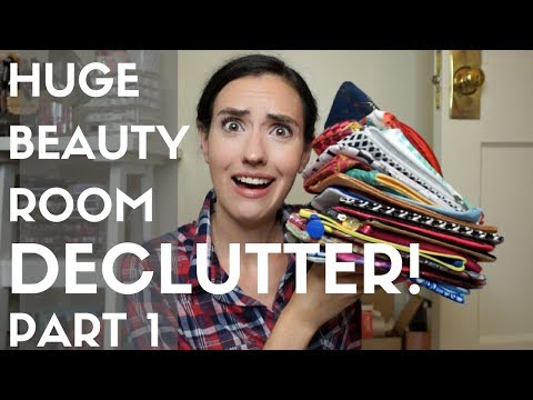 Huge Beauty Room Declutter Part 1 | Makeup Bags + Skincare