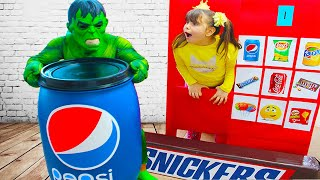 Superheroes Kids Pretend Play with Huge Toy Vending Machine