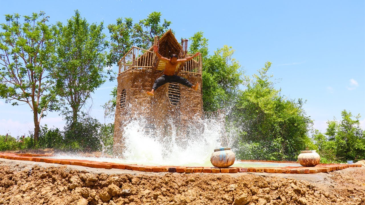 Build Three - Story  Mud House With Swimming Pool(full video)
