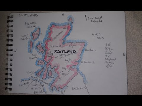 ASMR - Map Of Scotland - Australian Accent - Chewing Gum, Drawing & Describing In A Quiet Whisper