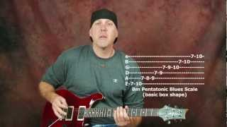 Learn how to solo and improvise Beginner rock blues lead guitar lesson pt1 scale jam track licks