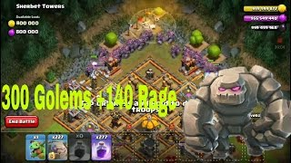 Clash of Clans- 300 Golems + 140 Rage spells!!!!(Coc troll raid on sherbet towers)