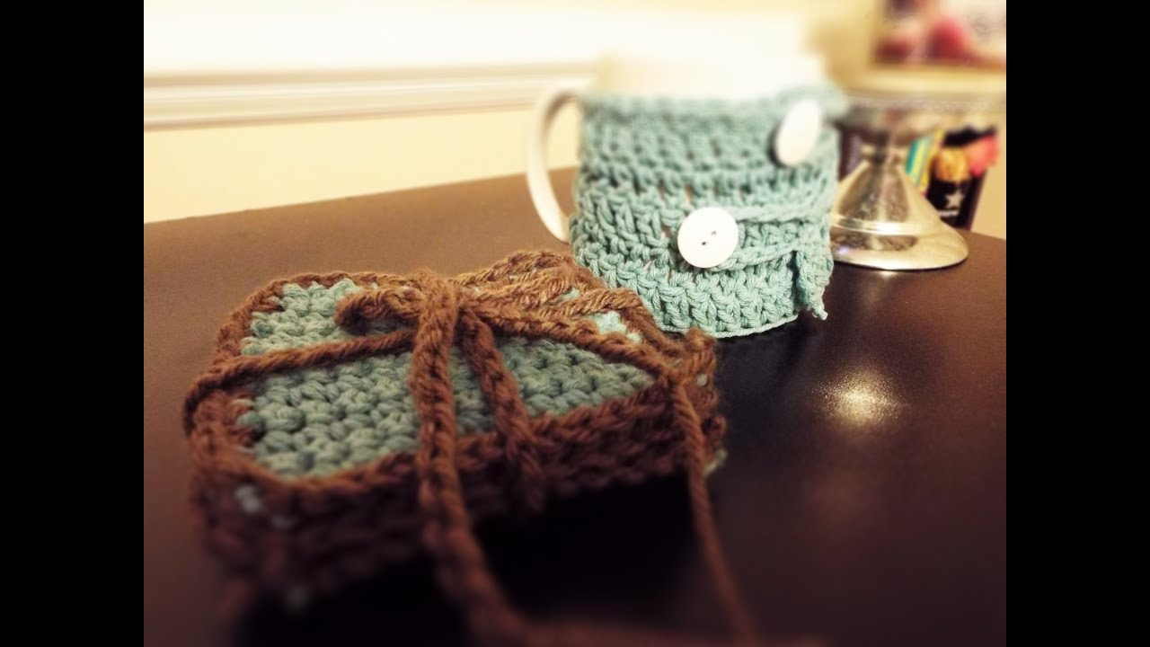 ♡ How To: Crochet Coasters & Coffee Mug Cozy - YouTube