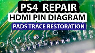 PS4 HDMI Trace Repair - Pins Layout Diagram and connector replacement