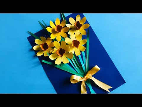 3D ОТКРЫТКА НАРЦИССЫ Своими руками   ОТКРЫТКА ПОДАРОК МАМЕ на 8 Марта.How Ty Make Paper  flowers