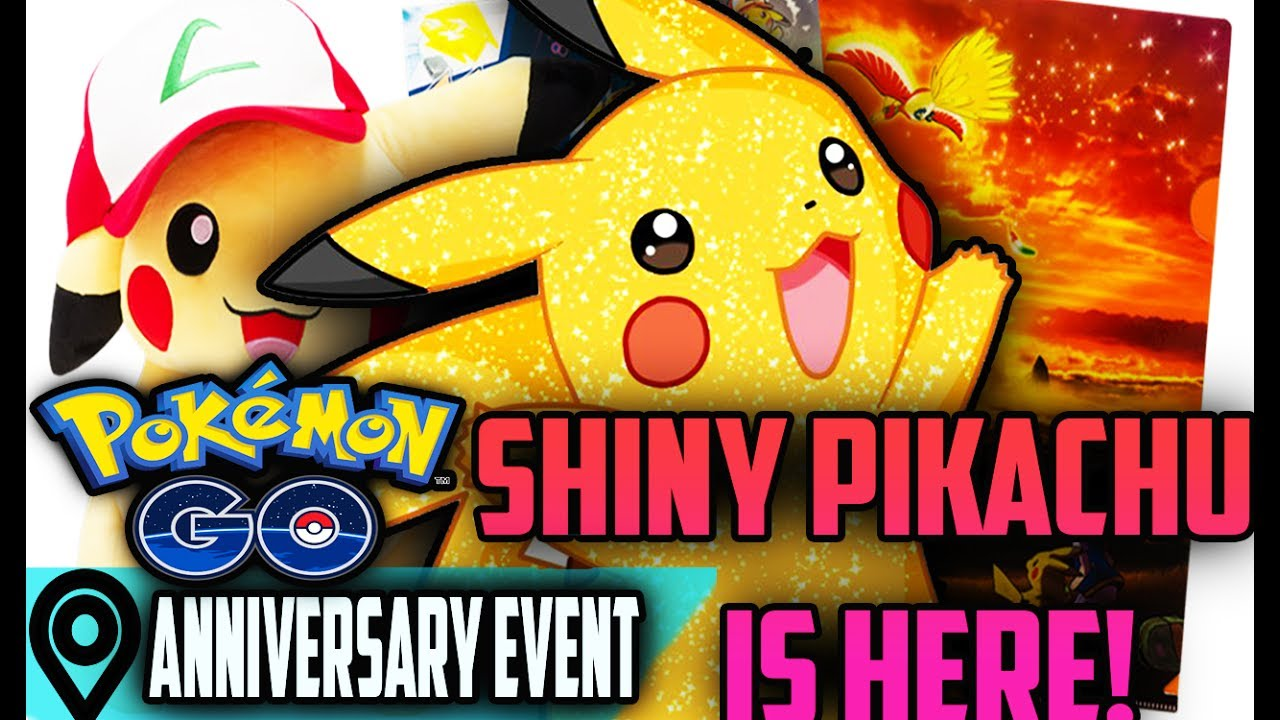 shiny pikachu rare gold pokemon go anniversary event youtube. Black Bedroom Furniture Sets. Home Design Ideas