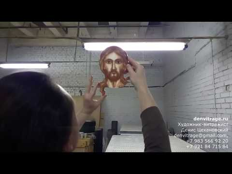 Обжиговая роспись по стеклу для витража СПБ