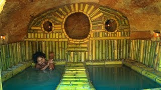 Dig Cliff to build Most Secret Underground House and Amazing Twin Swimming Pool