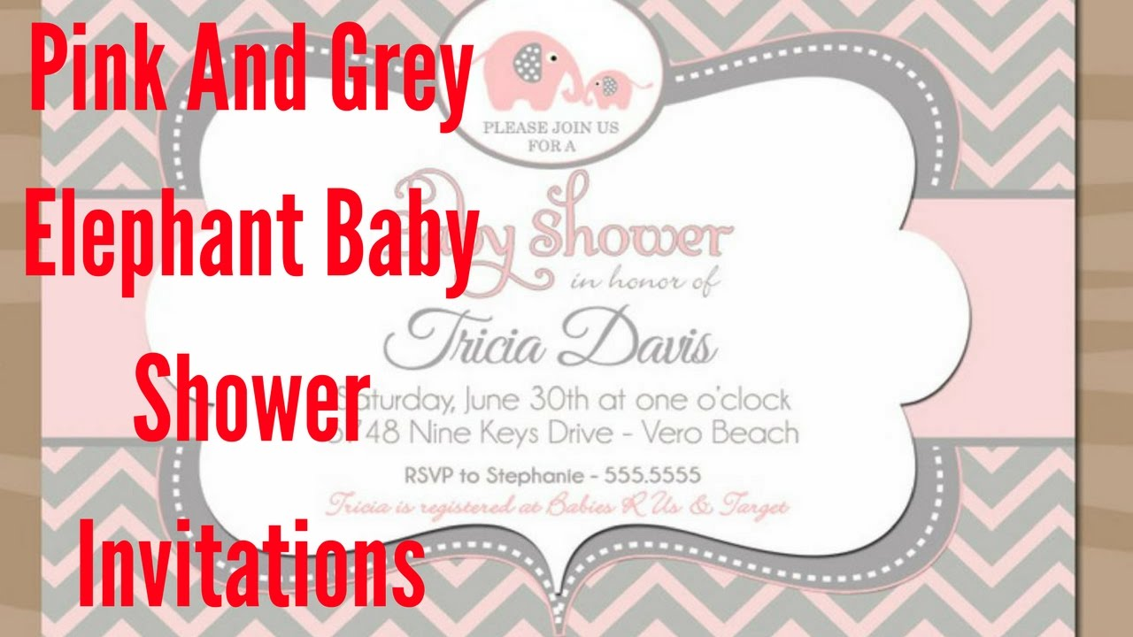 Pink And Grey Elephant Baby Shower Invitations - YouTube
