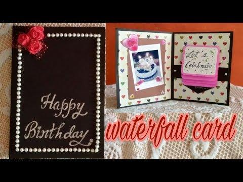 WATERFALL BIRTHDAY CARD ||HOW TO MAKE  WATERFALL CARD TUTORIAL ||HANDMADE BIRTHDAY CARD