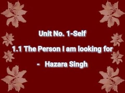 The person I am looking for-Hazara Singh-Appreciated by Prof.Jayant Ingale