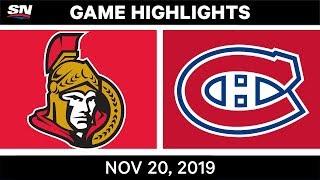 Nhl Highlights   Senators Vs. Canadiens – Nov. 20, 2019