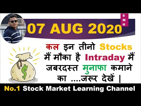 Best Intraday Trading Stocks for Tomorrow 07 AUG 2020 |Intraday trading strategies|StockMarketHacks|