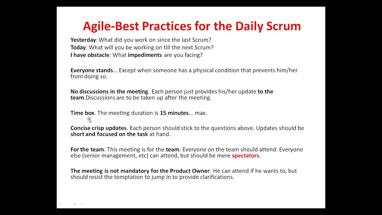 11 best practices daily scrum meeting youtube. Black Bedroom Furniture Sets. Home Design Ideas