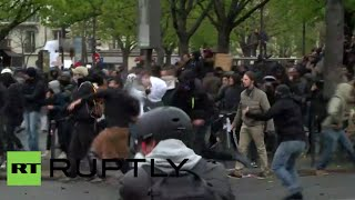 Clashes, tear gas in Paris as anti-labor rally hits French capital (recorded live)(Trade unions and students are marching in Paris against labor reforms proposed by the French government. Unions such as the General Confederation of Labor ..., 2016-04-09T17:06:52.000Z)