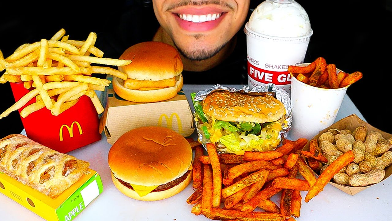 ASMR EATING MCDONALD'S VS FIVE GUYS CHEESEBURGERS FISH FILLET FRIES OREO MILKSHAKE ICE CREAM MUKBANG