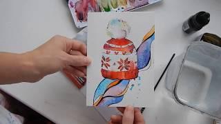 Урок акварели. Новогодняя открытка. Watercolor lesson. Christmas postcard