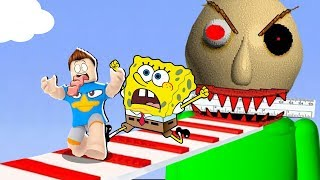 SPONGEBOB NEEDS TO ESCAPE FROM THE GIANT BALDI IN THE ROBLOX!!