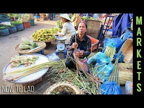Vientiane Laos: Morning Markets - Daily life in Vientiane, Shopping at Markets for Lao Restaurant