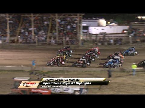 POWRi Lucas Oil Midgets A-Main Midget Highlights from Belle-Clair Speedway 6-8-16