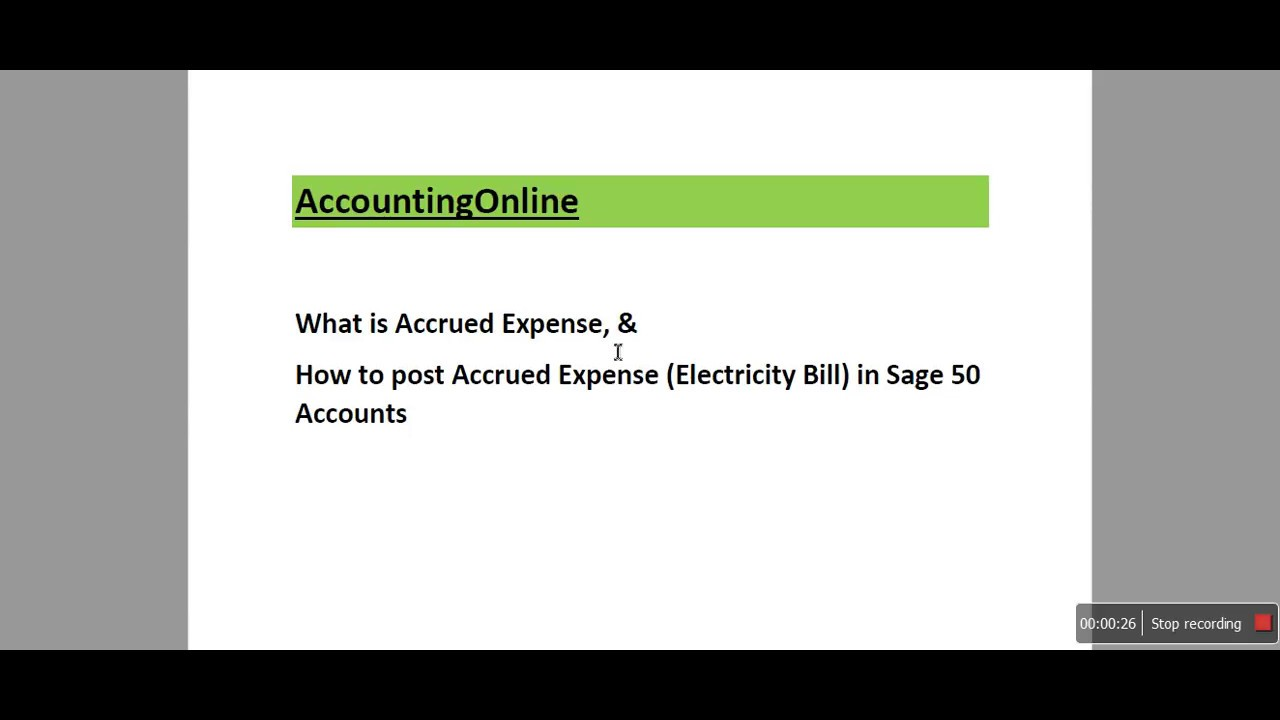 Accrued Expenses in Sage 50 Accounts P1