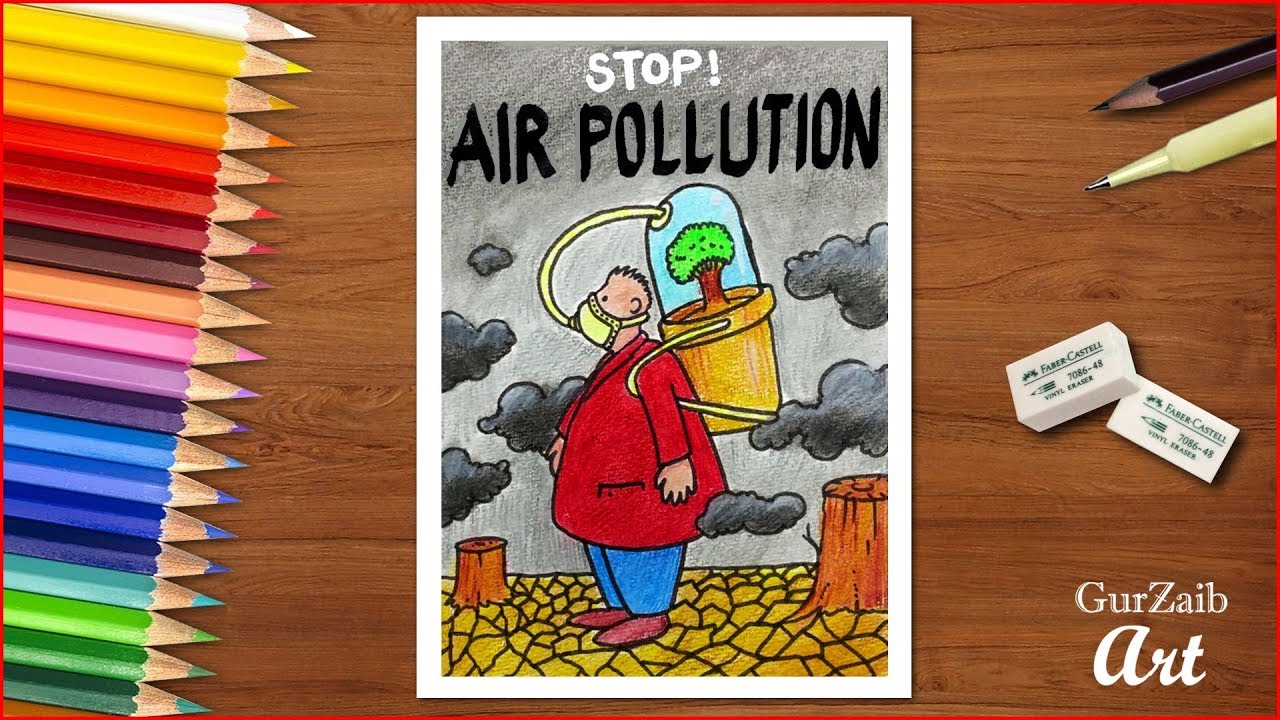 How to draw stop air pollution poster chart for school students very easy