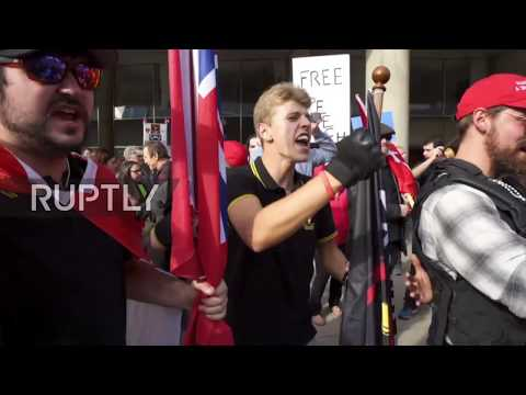 Canada: Anti-Trudeau rally clashes with police and counter protesters in Toronto