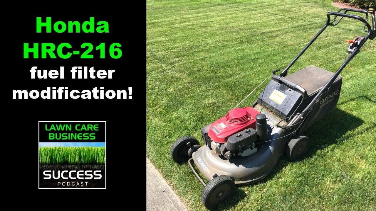 Honda Hrc 216 Fuel Filter Modification Youtube Lawn Mower