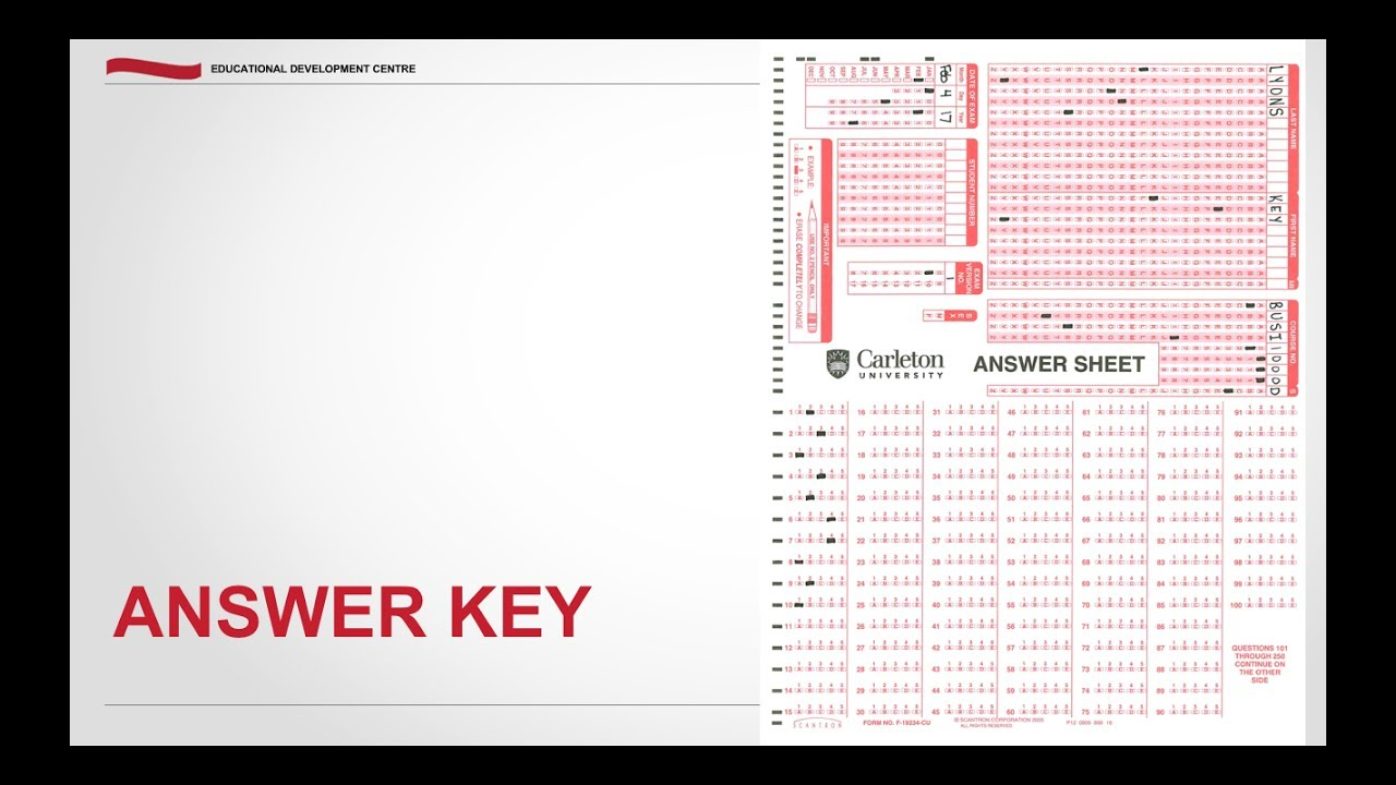 Scantron: Answer Key