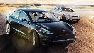 TESLA Model 3 vs BMW M3 Track Battle | Top Gear thumbnail