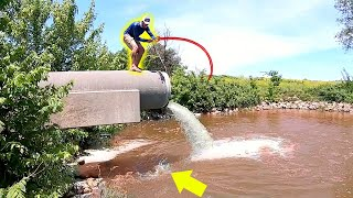 Catching GIANT Fish TRAPPED in Hidden Spillway!!!