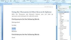 Word 2007 Using the Thesaurus & Other Research Options