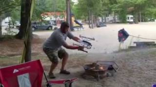 How to get a campfire going with a Drone!   Don't try this at home!