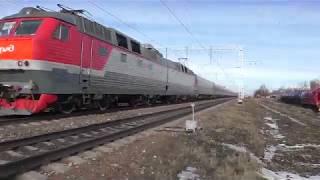 Электровоз ЧС7 049 ТЧЭ 18 со скоростным поездом Дневной экспресс №741А Москва   Белгород.