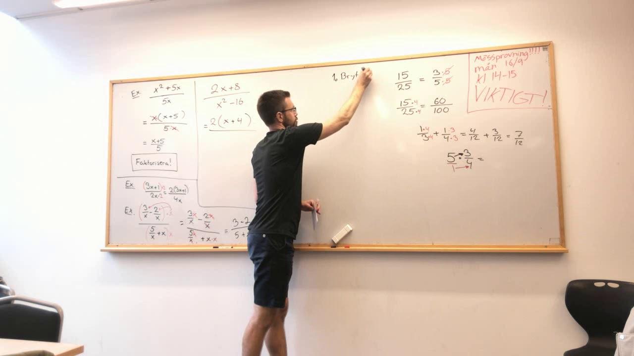 Matematik 3: Förenkla rationella uttryck (förlänga och förkorta)