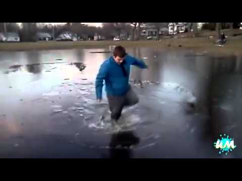 people falling trough ice compilation